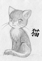 Black White Cat_sketch by true-amateur