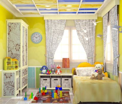 YELLOW BEDROOM FOR A BABY GIRL by rj-king
