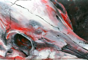 skull monochrome red by Shearin