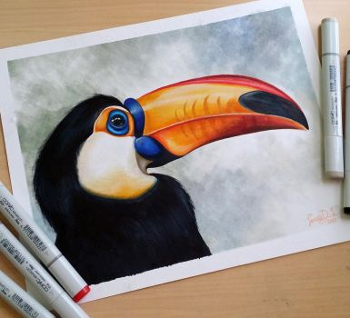 Toucan Side-Profile by Teresa-Tsareena