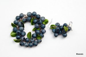 Blueberry bracelet and earrings by Nozomi21