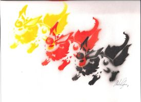 Flareon Spray Paint Trio by AWittyStatement