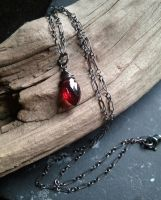 Sanguine Tears Garnet Oxidized Silver Pendant by QuintessentialArts