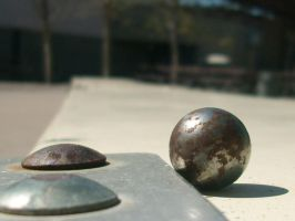 Metal Orb on Bench by trebory6