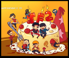 TF2  Happy birthday TF2 by biggreenpepper