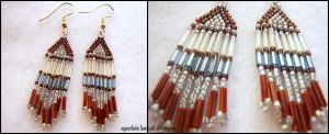 Red,Silver and Blue Earrings by Natalie526