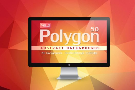 50 Polygon Abstract Backgrounds by graphiccon