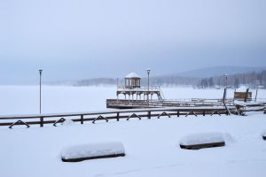 Winter shore of the lake by Lubov2001