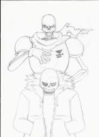 Undertale - Sans and Papyrus Sketch by KireIkasu
