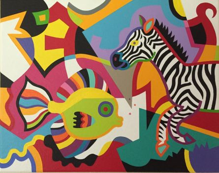 Zebra and Fish by Koerie