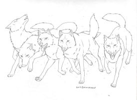 Running Wolfpack (line art) by Maximwolf