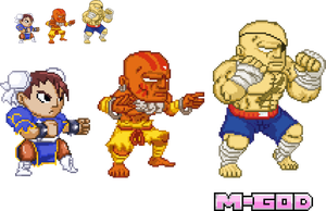 Pocket Fighter Style Chun Li, Dhalsim and Sagat by M-GOD