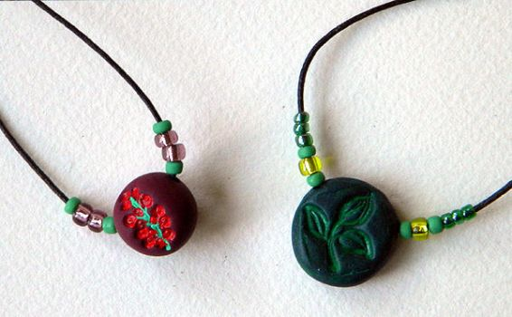 two polymer bead necklaces by havingthoughts