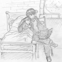 Gai reads to young Lee by infiniteviking