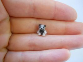 ooak micro miniature jointed brown/grey bear by tweebears