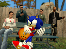 Sonic playing guitar by sonic1993