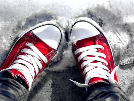 sneakers in the snow by czikaaa