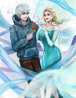 Jack Frost x Elsa (Valentine's Day) by SimhaART