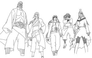 the 5 kages lineart by richrow