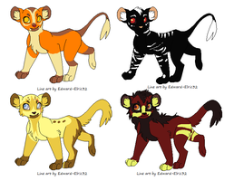 4 feline  adoptables OPEN by creative-adoptions