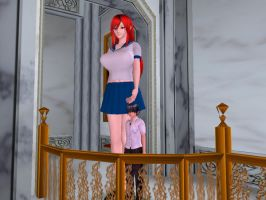 Redhaired at Balcony by ElusiveGiantess