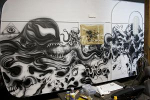 WOHNZILLA caravan airbrush project side 2 WIP by graynd