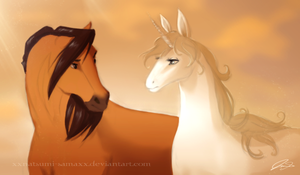 Spirit and Amalthea by audelade