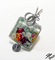 Wire Wrap Glass Tile Pendant 2 by Create-A-Pendant