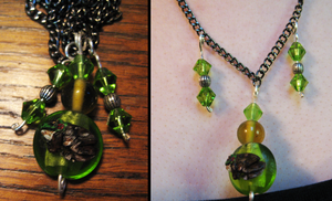 Green Frog Necklace by DancingVulture
