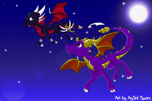 Spyro, Sparx and Cynder.. by Ag3nt-Sparx