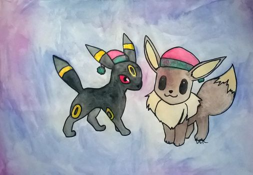 Christmas Umbreon And Eevee by TheAcrylicKnight