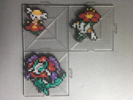 #669-#671 Flabebe Family Perlers by TehMorrison