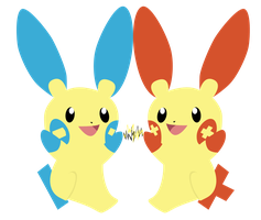 Plusle and Minun by Jaelachan