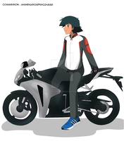CM : Ash on a Motorcycle by TrainerAshandRed35