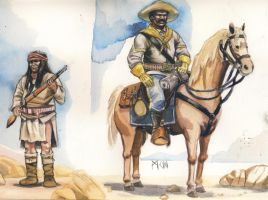 Apache warrior Buffalo soldier by deWitteillustration