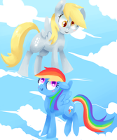 Derpy and Rainbow by CBrony