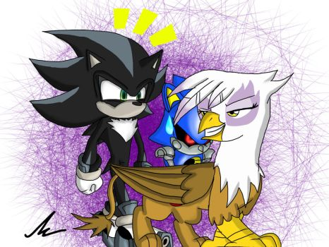 Classic Metal Sonic riding on Gilda's back by mkf2308