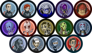 Mass Effect Button Set [EDIT: MOAR] by maureencreates