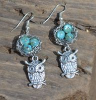 Wire Wrapped Owl Nest Earrings by LoneWolfjewelry
