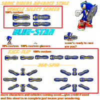 SONIC RIDERS sonic sprites by bybyblue