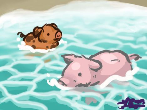 Pig Beach by yanderebunny303