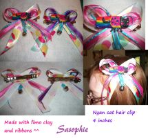 Nyan cat hair clip by Sasophie