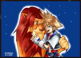 KH:SORA AND SIMBA by Sandra-delaIglesia