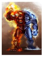 Fire and Ice Golem by gildeneye