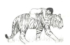 Girl with Tiger by TheFrozenTiger