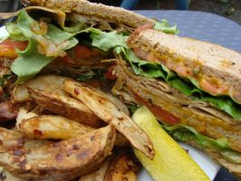 Vegan Triple Decker Turkey Sandwich by tainted-heart278