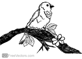 Cute Bird on Tree Branch Vector Art by 123freevectors