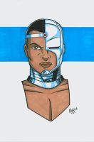 Cyborg Headshot Colored by RichBernatovech