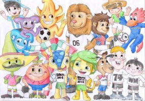 All World Cup Mascots by diegio1996