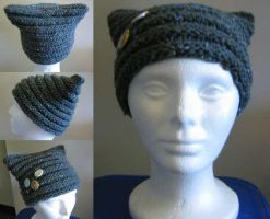 knit cat hat by evilsherbear